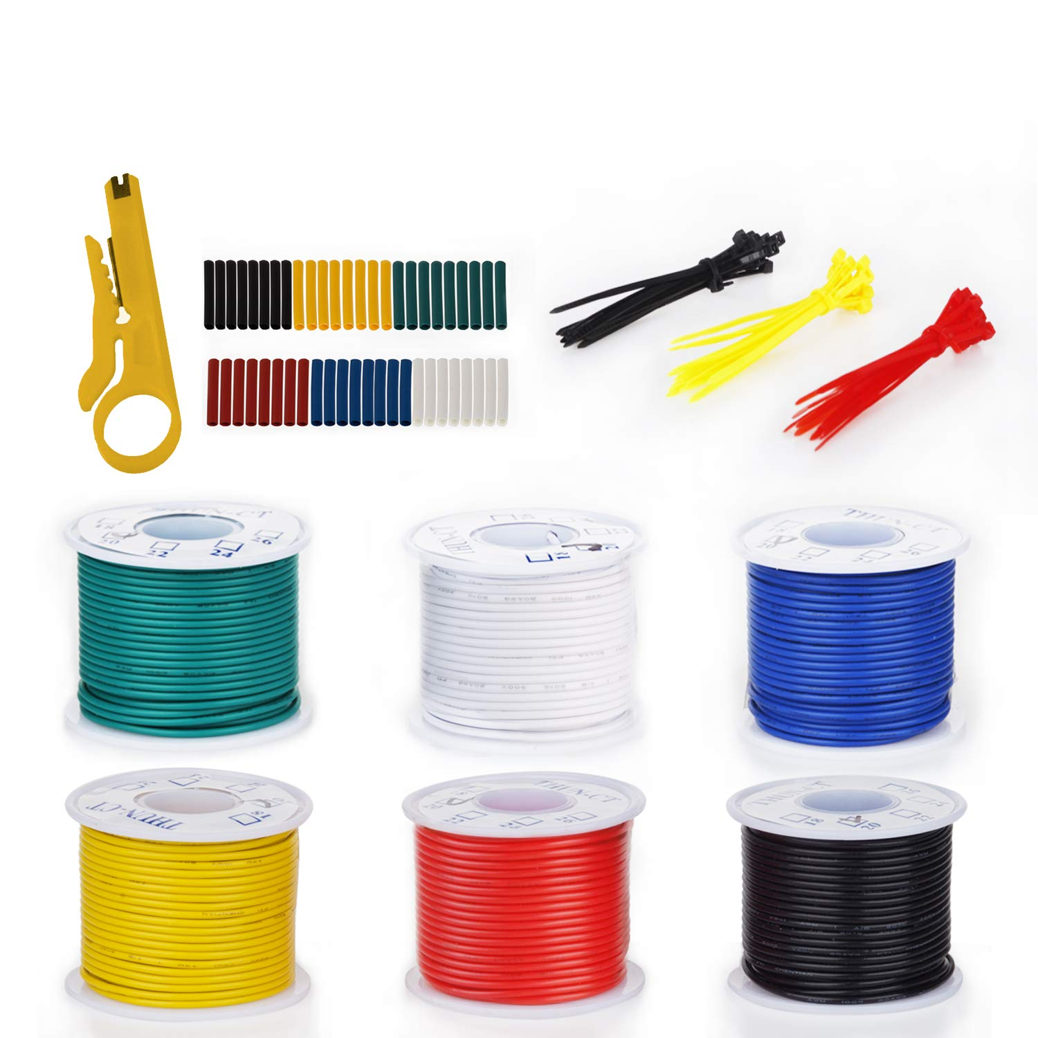 THUN-CT 18 AWG Electronic Solid Wire Kit Tinned Copper Wire Insulated Solid Wires- 18 Gauge Stranded Hook Up Wires Kit 9.2M//30ft
