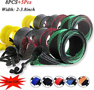 ZHENDUO OUTDOOR 8pcs/Set Rod Sock Fishing Rod Sleeve 2in Wide Rod Cover Protector with 5pcs Rod Straps Belts Ties Fishing Gear Tools Accessories for Spinning Casting Sea Fishing Rod