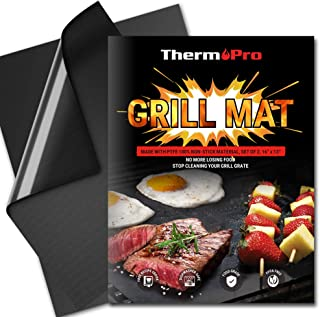 ThermoPro TP932 BBQ Grill Mat Set of 2 Grill Mats Non Stick Reusable Heavy-Duty Barbecue Baking Grilling Mats for Gas Char...