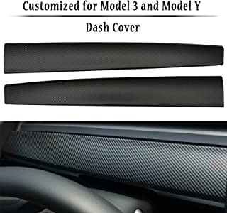 LMZX Tesla Model 3 Model Y Dashboard Cover Wrap ABS Matte Carbon Fiber Pattern Dash Cover Wrap Cap for Tesla Model 3 2017-2021 Model Y Accessories