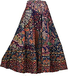 Kanika Fashion Cotton Wrap Round Skirt Blue Color Patch Type Cotton Repron Long Skirt for Womans and girls RCK-15
