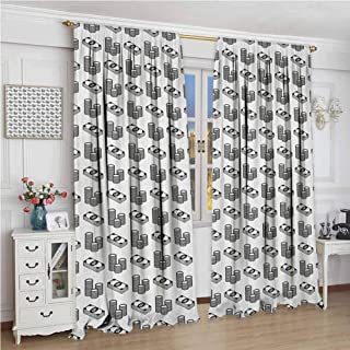 GUUVOR Money Premium Blackout Curtains Monochrome Stacked Coins and Dollar Bills Simple Doodle Style Economy Themed Pattern Kindergarten Noise Reduction Curtains W96 x L72 Inch Black White