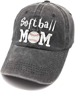 Waldeal Embroidered Softball Mom Vintage Distressed Baseball Dad Hats Adjustable Demin Cap Game Day Gift for Mom
