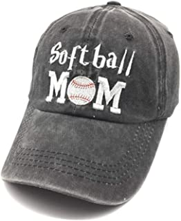 Embroidered Softball Mom Vintage Distressed Baseball Dad Hats Adjustable Demin Cap Game Day Gift for Mom