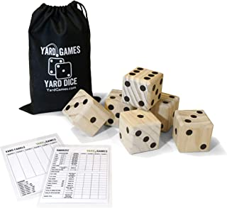 Yard Games Large Wooden Yard Dice with Laminated Yardzee and Yard Farkle | Includes 6 Dice with Durable Carrying Case