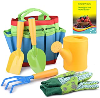 NOUVCOO Gardening Tools Set for Kids, 7 PCS Garden Tools Covering Garden Sturdy Tote, Watering Can, Shovel, Rake, Fork, Children Gardening Gloves and a Kids' Delightful Booklet How to Garden, NC27