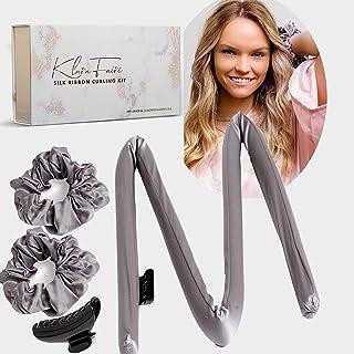 Heatless Hair Curlers Silk Scrunchies -100% Silk Heatless Curling Rod Headband with 2 Silk Hair Ties and 1 Hair Clip | Aut...