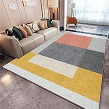 WQ-BBB Alfombra Decorativa Tatami La Alfombra Alfombra habitación Sin desvanecimiento fácil de Mantener Alfombraes Geometric Square Beige Yellow Gray Red Carpets 80X120cm