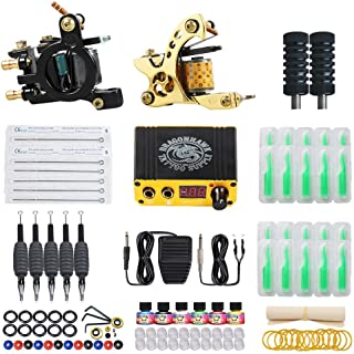 Dragonhawk Complete Biginner Tattoo Kit Traditional Coils Two Machines Liner Shader Needles Power Supply SN-2