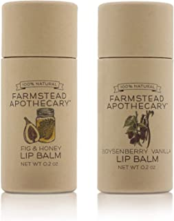 Farmstead Apothecary 100% Natural Lip Balm with Organic Beeswax, Organic Shea Butter & Organic Coconut Oil, 0.2oz (Pack of...