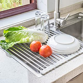 Roll Up Dish Drying Rack by Annaklin, Heavy Duty Heat Resistant Over the Sink Drying Rack Drainer Mat with White Silicone Grips, Enlarged Stainless Steel Pipes for High Capacity, Broad, 17.2x13.8 inch