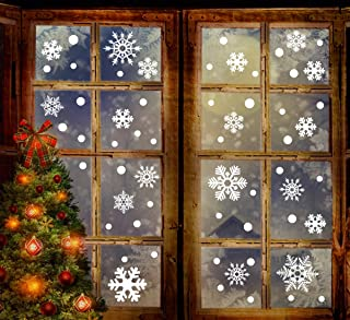 jollylife 259PCS Christmas Snowflake Window Clings Decorations - White Baubles / Bells -Winter Wonderland Xmas Party Stickers Decal Ornaments(8 Sheets)