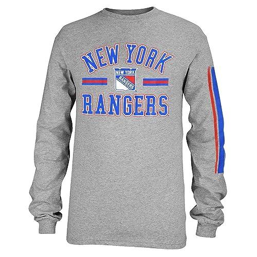 NHL New York Rangers adidas Original 6 Long Sleeve Tri Blend T Shirt Mens