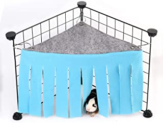 DIDIPET Guinea Pig Hideaway Corner Fleece Forest Hideout for Ferrets Chinchillas Hedgehogs Dwarf Rabbits and Other Small Pets - Accessories and Toys (Blue)