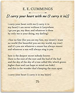 E E Cummings - I Carry Your Heart - 11x14 Unframed Typography Book Page Print - Great Gift for Poetry Fans, Wedding and Anniversary and Home and Office Decor Under $15
