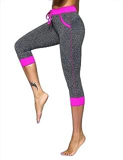 unitop Women's Yoga Pants Contrast Color Workout Capris Leggings