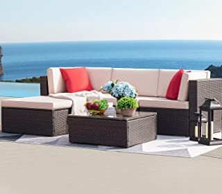 Devoko 5 Pieces Patio Furniture Sets All Weather Outdoor Sectional Sofa Manual Weaving..