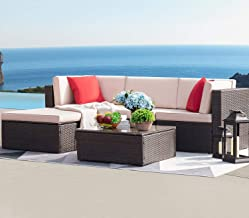 Devoko 5 Pieces Patio Furniture Sets All-Weather Outdoor Sectional Sofa Manual Weaving Wicker Rattan Patio Conversation Se...