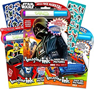 Magic Ink Coloring Book Super Set -- 3 Imagine Ink Books for Kids Toddlers Featuring Star Wars, Transformers, Hot Wheels with Invisible Ink Pens and Avengers Stickers (Mess Free Coloring Bundle)