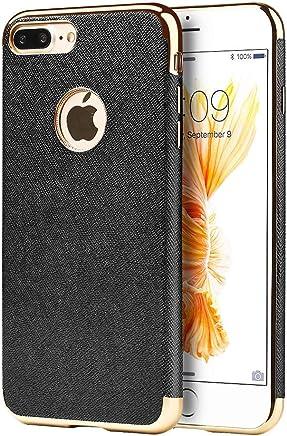 Funda Case para iPhone 7 Plus/iPhone 8 Plus Anti Gravedad Protector de Plasico Tipo Piel con Bordes Cromados Y Magneto Interior (Negro)