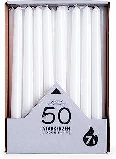 pajoma Lot de 50 bougies - Blanc - Hauteur: 25cm - Durée de combustion: environ 7heures.