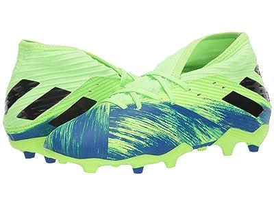 adidas Kids Nemeziz 19.3 FG J Soccer (Little Kid/Big Kid) (Signal Green/Black/Team Royal Blue) Kids Shoes