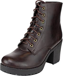 Refresh Footwear Women's Lace-Up Combat Chunky Stacked Heel Ankle Bootie (8.5 B(M) US, Brown)