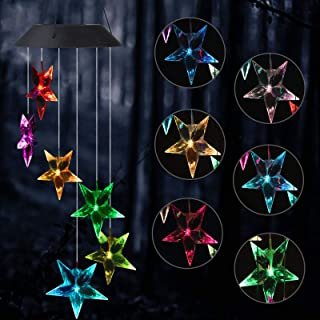 EEEKit Star Wind Chime, Color Changing LED Solar Powered Windchimes Hanging Lamp Light Wind Chimes for Outdoor/Indoor Gardening Yard Pathway Decororation