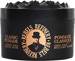 Rebels Refinery Classic Pomade for Men – Strong Hold and Medium Shine – Adds Texture and Thickness to Thinning Hair – Paraben-Free, Water-Based Formula – 3.5 Oz.