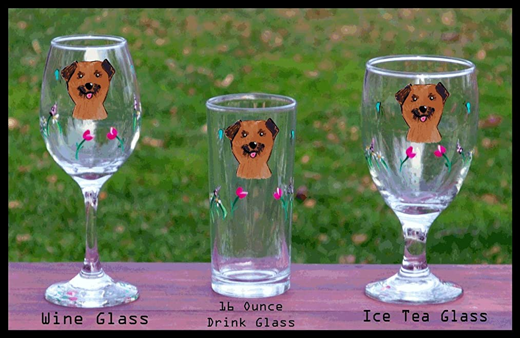 Border Terrier handpainted glasses - set of 2 - Iced Tea, Wine, Barware - Dishwasher safe - shipping pro rated for multiples