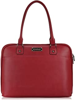 14-15.6 Inch Laptop Bag for Women,Full Zipper Open Laptop Tote Bag,Big Work Business Briefcase, for Her[Red]