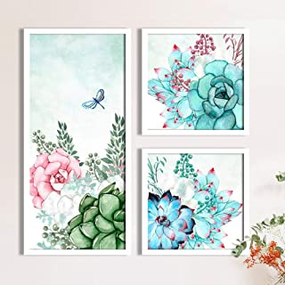 Rose Flowers Framed Painting/Posters for Room Decoration, Set of 3 White Frame Art Prints/Posters for Living Room by Paint...