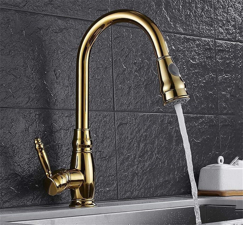 Xihouxian Goldene Europische Küche Einhand-Wasserhahn, Pull-Typ Warm- Und Kaltwasserhahn 360 ° Drehbar, Sitzdurchmesser 3,5 cm E20