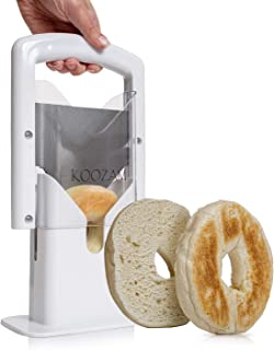 Koozam  Bagel Slicer High End White Plastic and Stainless Steel Guillotine, White