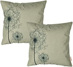 Luxbon Set 2Pcs Morden Stylish Simplicity Farmhouse Dandelion Floral Decor As You Wish Cotton Linen Throw Pillow Cases Sofa Couch Chair Decorative Cushion Covers 18x18/45x45cm Insert Not Included