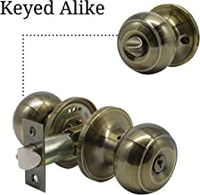 2 Pack-Front Entry Knob in Polished Bronze,Keyed Alike Doorknob Combo Pack,Flat Ball Door Knobs Exterior and Interior,Antique Bronze Door Knobs with Lock and Key,Euro Style by Goldentimehardware