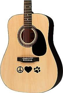 Guitar sticker decal - Peace love paw prints - violin electric guitar ukulele designs
