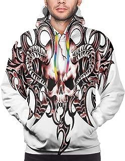 Men's Hoodies Sweatershirt,Goat Skull Shaped Swirl Blur Lines in Digital Watercolor Stylized Artsy Design Print,