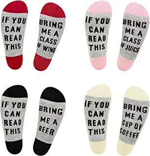 IF YOU CAN READ THIS Funny Saying Knitting Word Novelty Cotton Crew Socks Gift for Women