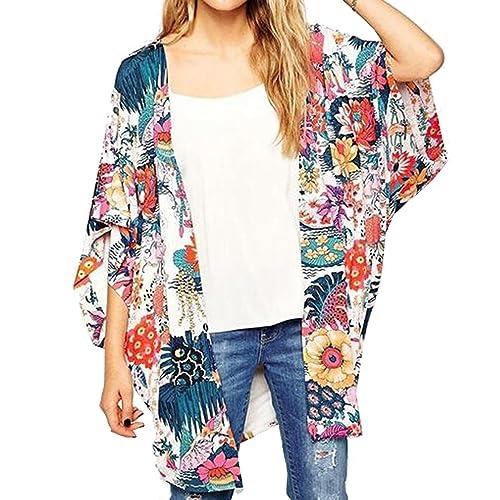 de0935ecea7 Relipop Women s Sheer Chiffon Blouse Loose Tops Kimono Floral Print Cardigan