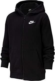 Nike Kids Boy's Sportwear Full Zip Club Hoodie (Little Kids/Big Kids) Black/White