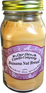 Our Own Candle Company Banana Nut Bread Scented Mason Jar Candle, 18 Ounce