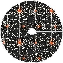 Dussdil Happy Halloween Cobweb Christmas Tree Skirt 35.4 Inches Spider Web Xmas Tree Skirt Floor Door Mat Decorations for ...