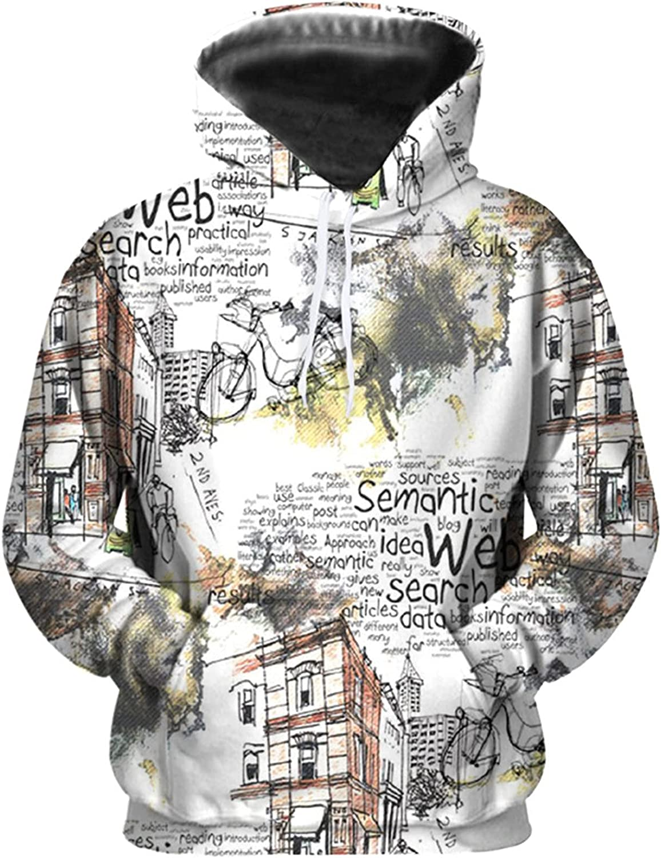 Men's Graphic Crewneck Sweatshirt Hip Hop Heavyweight Hoodies Long Sleeve Casual Print Hooded Pullover