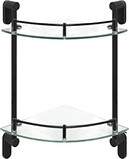 MODONA Double Corner Glass Shelf with Pre-installed Rail - RUBBED BRONZE - Oval Series - 5 Year Warrantee