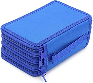 72 Slots Canvas Pencil Case, Zippered Multi-Layer Stationary Pouch Case Super Large Capacity Pen Bag Cosmetic Makeup Bag for Colored Watercolor Pencils, Gel Pens, Small Marker