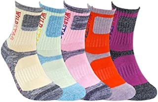 For Women Random Color, 3 or 5 Pairs Pack Cushion Outdoor Hiking Walking Trekking Socks