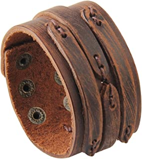 Jenia Genuine Leather Cuff Bracelet Punk Braided Bracelets Rock Leather Wristbands Adjustable Belt Wrap Bracelet Handmade Jewelry for Men, Women