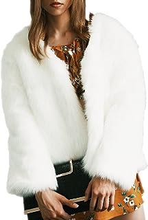Kevins Bridal Womens Fashion Long Sleeve Faux Fur Jacket Soft Fur Fluffy Winter Coat