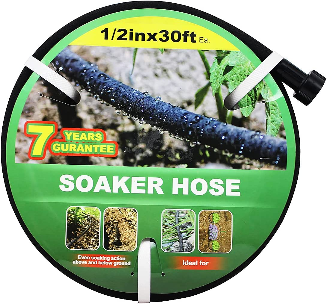 Taisia 1/2 Soaker Hose 30 FT Garden Soaker Hose with Push on Fittings Lead Drip Hose Saves 70%Water Heavy Duty Soaker Hose for Garden, Lawn(1-2-30ft)
